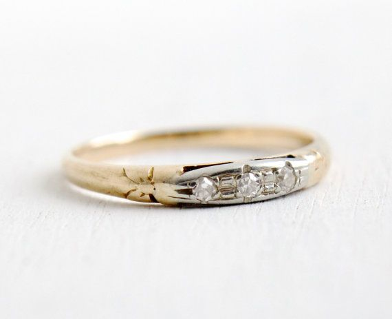 Antique 14k Yellow & White Gold Diamond Wedding by MaejeanVintage, $395.00