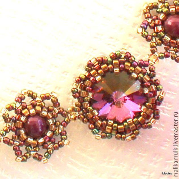 """Купить колье ожерелье бусы """"Lilac shadow"""" с кристаллами Сваровски - сиреневый, бронзовый, Элегантное украшение"""