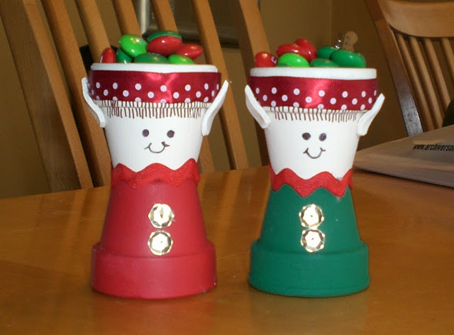 Elf candy dishes made of small potting pots!