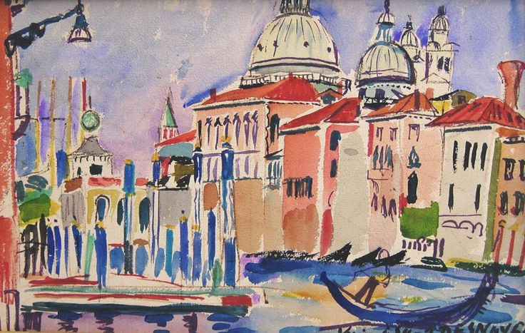 François Desnoyer (1894 – 1972) | John Adams Fine Art, Venise le Grand Canal,  Watercolour on paper : 26 x 40 cm