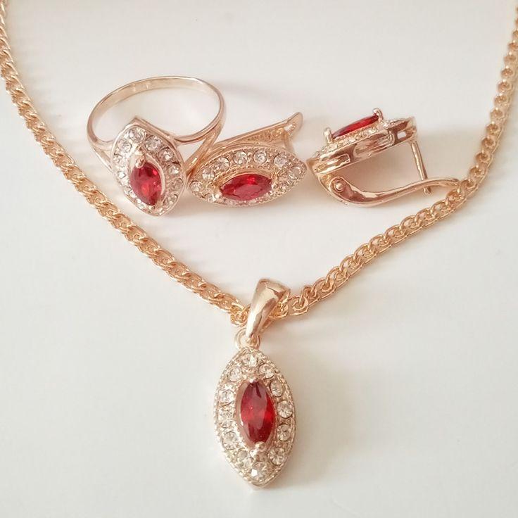 1 Set Perhiasan Pernikahan Mewah Set Rose Warna Emas ...
