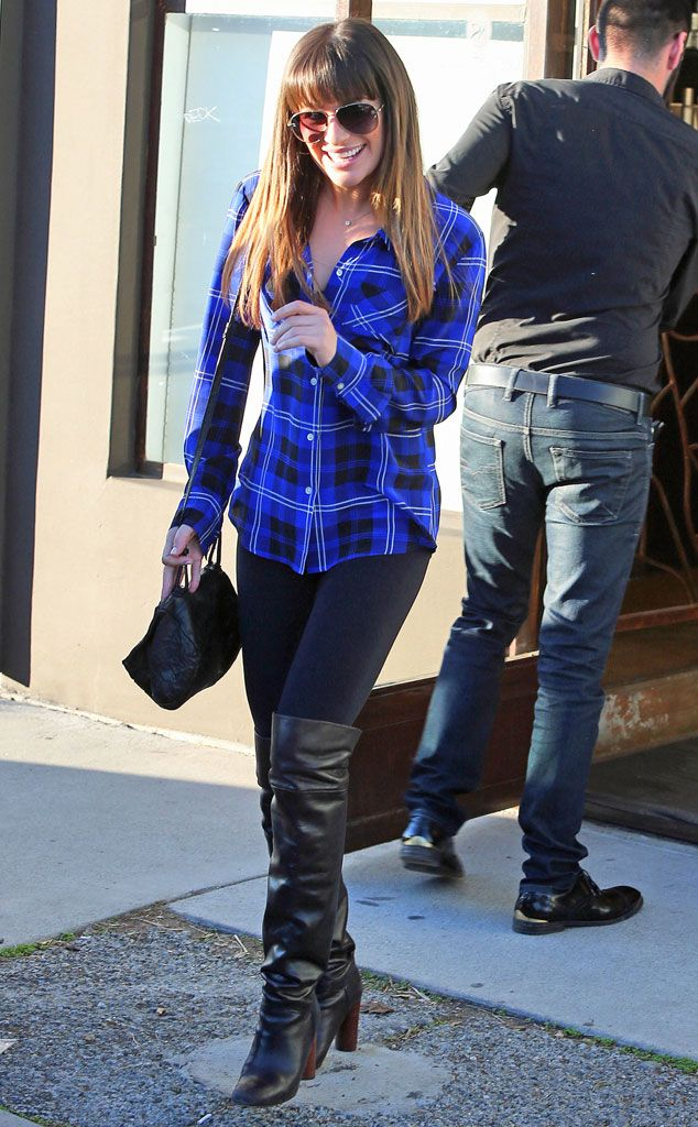 PRETTY IN PLAID  Lea Michele dresses up a casual plaid-shirt-and-leggings combo with sexy over-the-knee boots in West Hollywood.