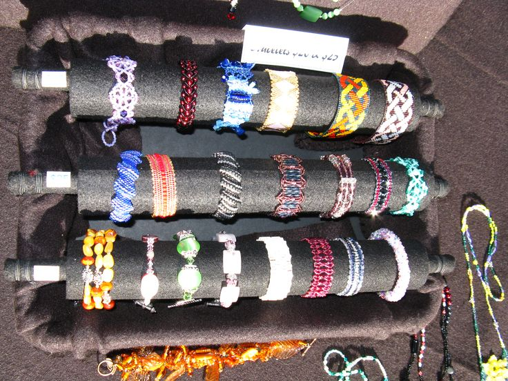 2015 Bracelets I made for sale on display at a craft fair.