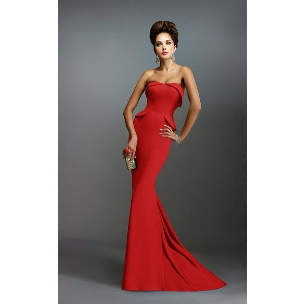 Janique C1167 Landing A Long Strapless Sleeveless ($438) ❤ liked on Polyvore featuring dresses, gowns, formal dresses, red, red cocktail dress, long evening gowns, evening dresses, long formal evening gowns and red gown