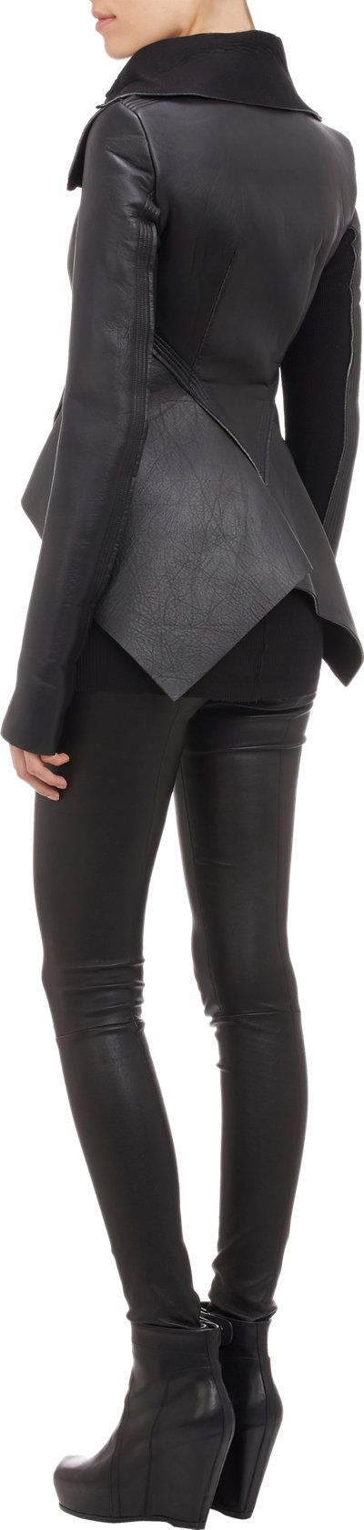 Rick Owens Leather & Neoprene Peplum Jacket at Barneys.com