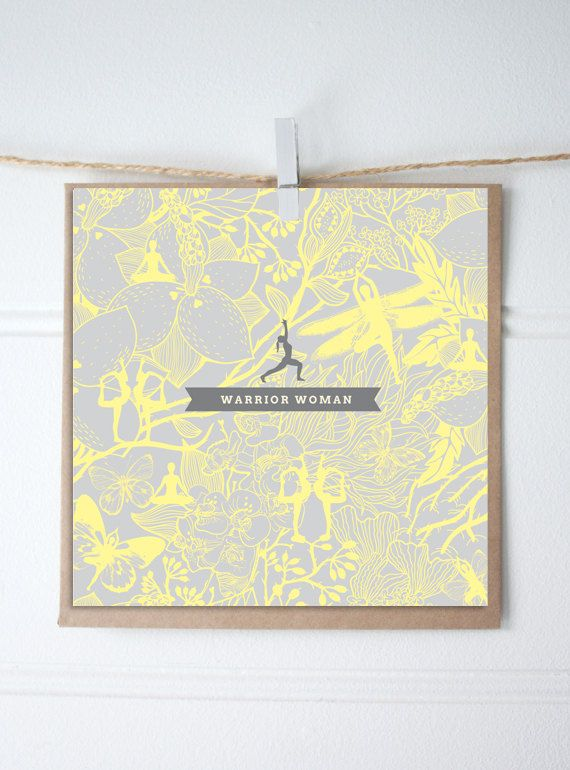 Mother's Day Card. Yoga inspired yellow  grey floral pattern. Square craft envelope | Rambutan Designs