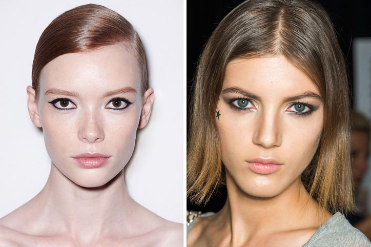 Spring 2015 Makeup. Inky Black Eyes For night, try tight-lining all the way around your eye with liquid eyeliner for maximum drama, as seen at Diesel (left) and Tommy Hilfiger (right).