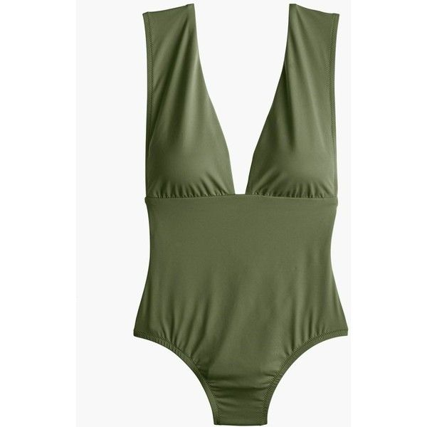 J.Crew Plunge V-Neck One-Piece Swimsuit ($130) ❤ liked on Polyvore featuring swimwear, one-piece swimsuits, 1 piece swimsuit, plunge swimsuit, j crew bathing suits and swimsuit swimwear