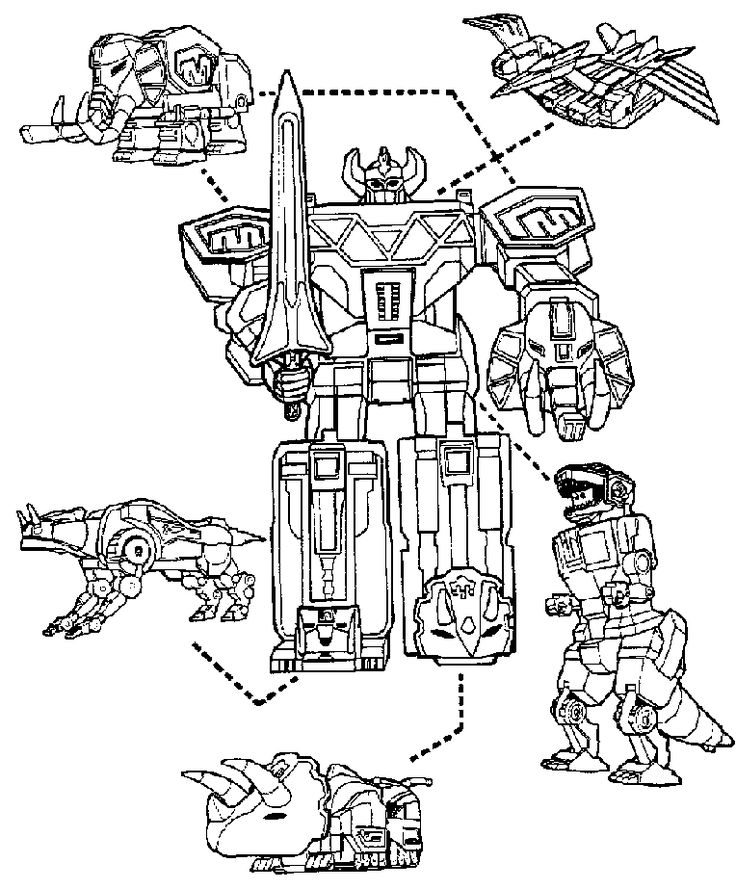 power rangers megazord and dinosaurs coloring page for boys robot kids coloring book. Black Bedroom Furniture Sets. Home Design Ideas