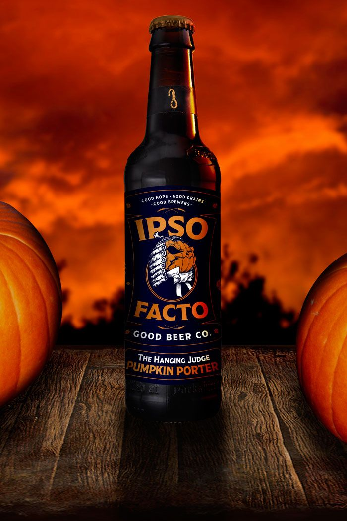 Ipso Facto Good Beer Co.. - The Hanging Judge Pumpkin Porter - packaging design for halloween / autumn