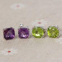Moda piedras semi-preciosas pendientes de la joyería al por mayor 925 de plata con incrustaciones de oro Pendientes de piedra para las mujeres(China (Mainland))