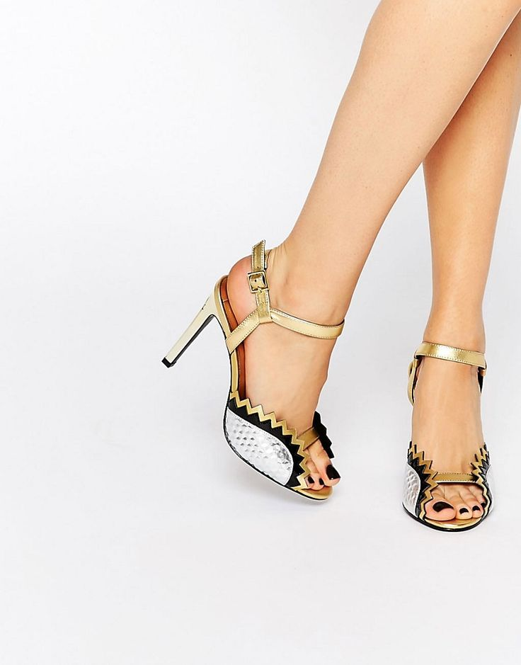 Kat+Maconie+Gretchen+Silver+&+Gold+Jagged+Heeled+Sandals