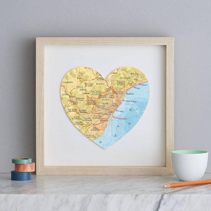 Pau Map%0A Personalised Location Barcelona Map Heart Print
