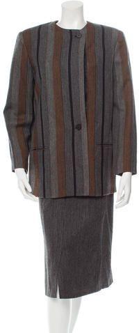 Christian Dior Wool Pinstripe Skirt Suit