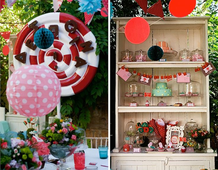 French Patisserie Christening Event @Am Villa in Ekali by De Plan V. Vintage wooden furniture, desserts, glass platters, vintage twist lollipop in white and red colour.
