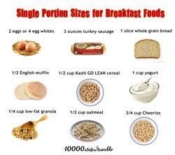 10000steps:   Single Portion Sizes for Breakfast Foods