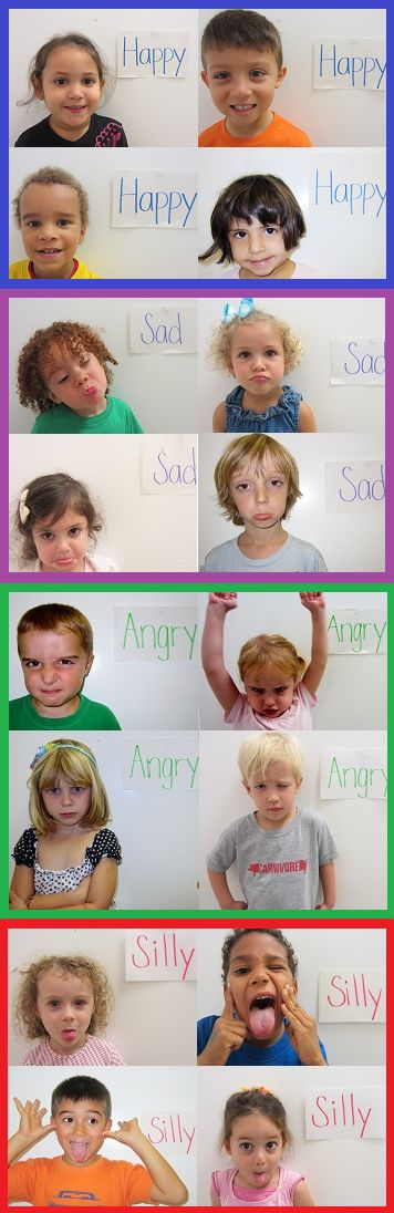have kids have index cards and act out each feeling face. Take picture of kid. next class make personalized feeling flashcards