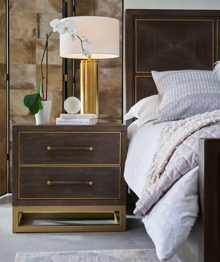 Modern Walnut and Brass 4 Piece King Bedroom Set - Tango ...