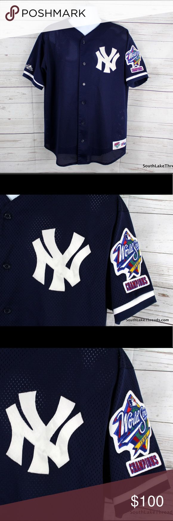 """NY Yankees 1998 World Series Authentic Jersey XL This is an authentic Majestic Jersey Men's Size XL from the New York Yankees 1998 World Series Championship. Have always been a Jeter fan but just need to downsize a few jerseys. Very Rare and you just don't find these 1998 jerseys often. Detailed Measurements [Measured by hand laying flat on table]• Sleeve: 9.5"""" inches • Underarms: 24.5"""" inches Length: 32"""" inches • 5 Star Rating please purchase with confidence. Orders ship in 1 day or less…"""