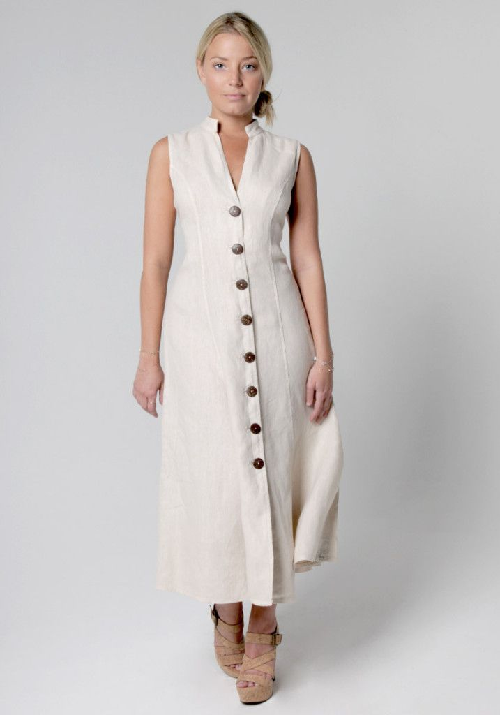 6478addad6f 100% Linen Dress with Coconut Buttons and Moa Collar in Natural in ...