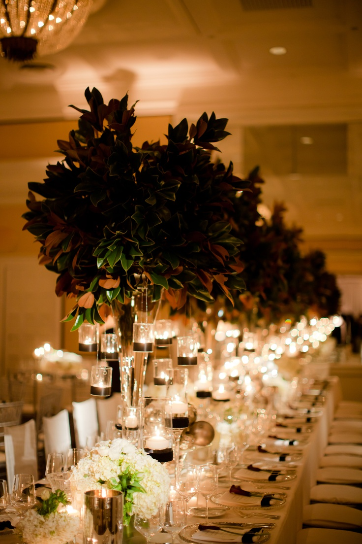 church wedding decorations candles%0A I love the tons and tons of candles  the long table  and the use of  greenery to create height