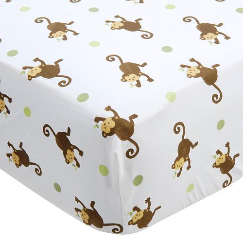 """Bedding for Baby: Mod Pod Pop Monkey Fitted Crib Sheet - Kids Line - Babies """"R"""" Us"""