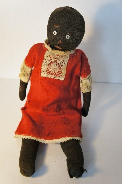 Antique black stockinette doll as found sweet sad face