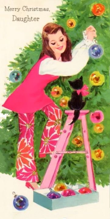 Merry Christmas Daughter (and cat!) ~ 1960s Card