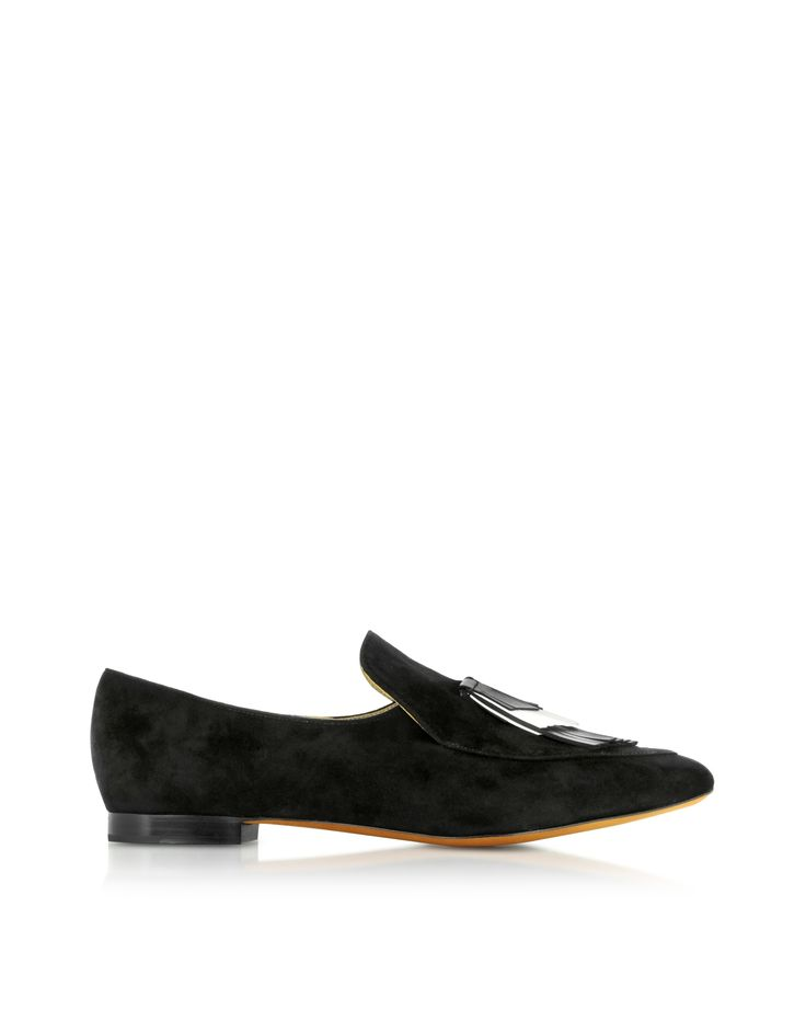 Black Suede Loafer crafted from velvety suede with calf leather accents, are a chic modern take on the classic slipper that will pair beautifully with slim trousers to soft line skirts. Featuring pointed toe with moc stitching, two tone chevron fringe accent on vamp, slip on-design with elastic band for easy on,  small stacked heel and leather sole. Signature dust bag included. Made in Italy.