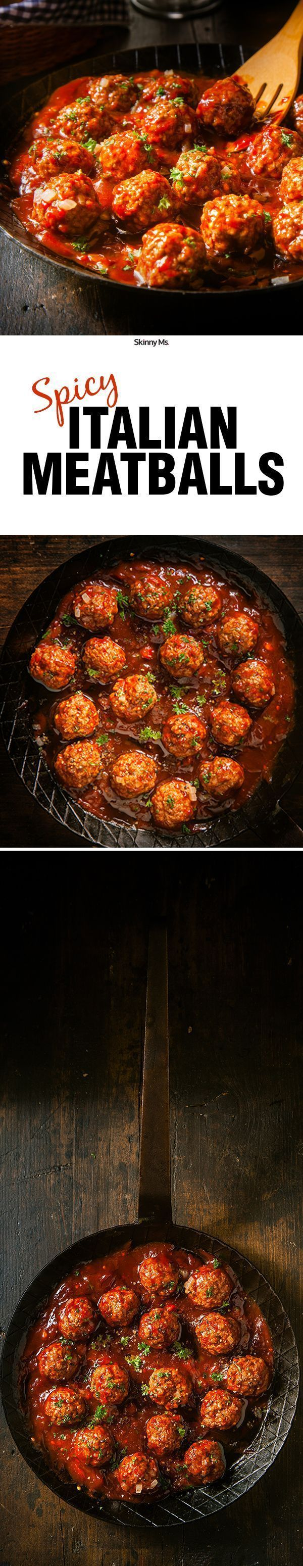 Swap out the beef for ground turkey and it's a lean meal--Spicy Italian Meatballs!