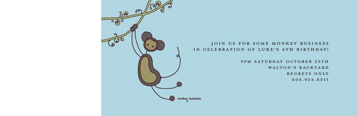 "Haute Note Birthday Invitation ""Monkey Business"" www.hautenote.com"