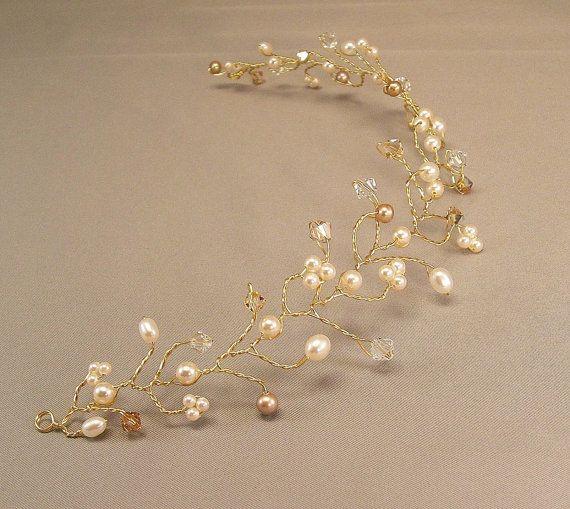 Golden Bridal Hair Vine Tiara Wedding Hair by BridalDiamantes, $58.00