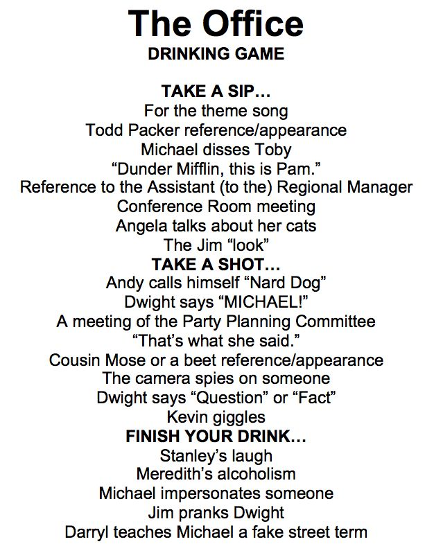 """""""The Office"""" Drinking Game"""