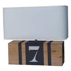 Lampe en bois rectangulaire gris ardoise brick XL