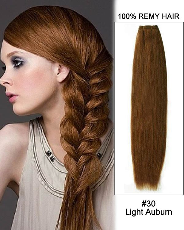 "Light Shop Near Auburn: 18"" #30 Light Auburn Straight Weave 100% Remy Hair Weft"