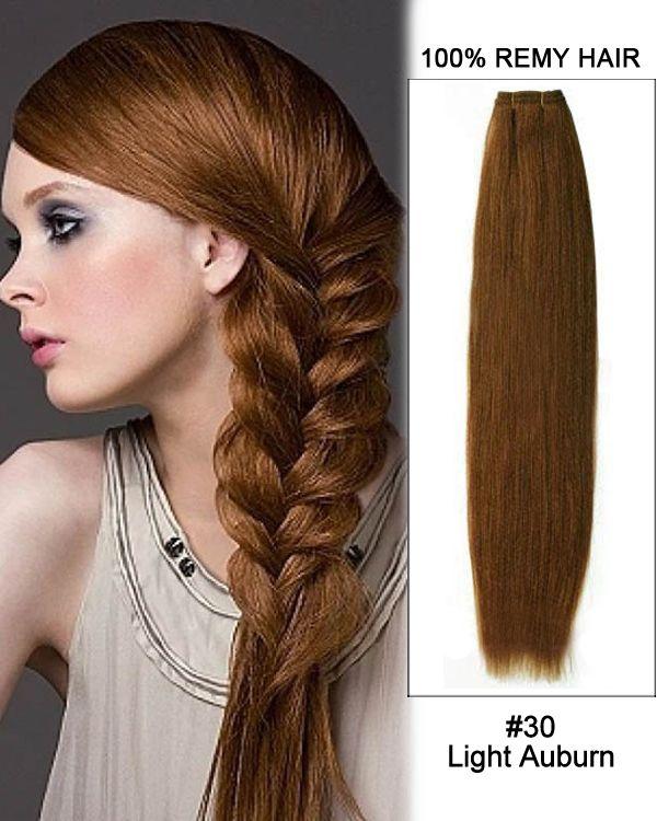 "18"" #30 Light Auburn Straight Weave 100% Remy Ha…"