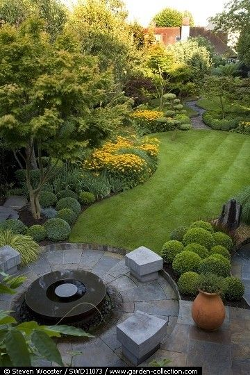 Beautifully landscaped backyard.
