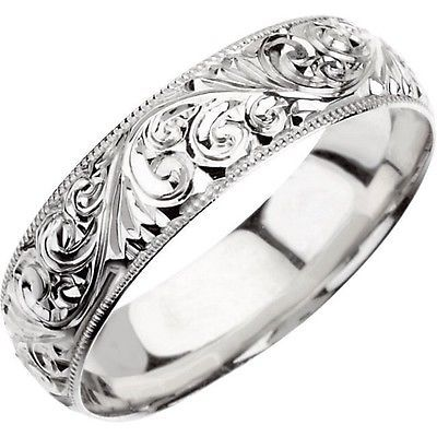 WEDDING BAND 6mm Hand Engraved Ring 14K White or 14K Yellow Gold Western Cowboy