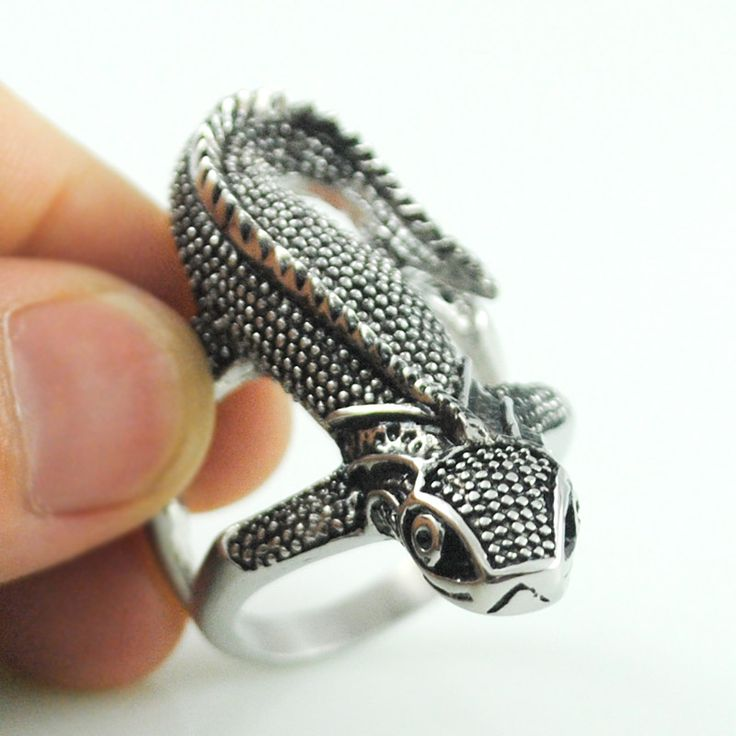 stainless steel lizard rings,casting rock punk style,new cool personality animal jewelry for men's ring cocktail party VR135