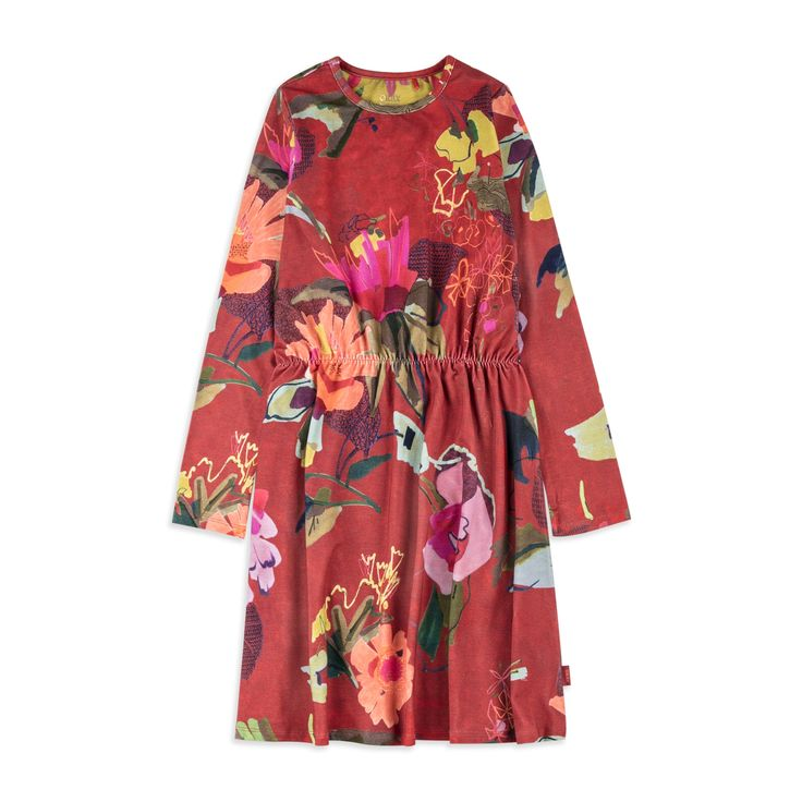 OILILY Girls 'Tuliette' Jersey Dress - Red From £46 Girls long sleeve dress • Soft stretchy cotton • Round neckline • Elasticated waist • Colourful floral print • Material: 95% Cotton, 5% Elastane