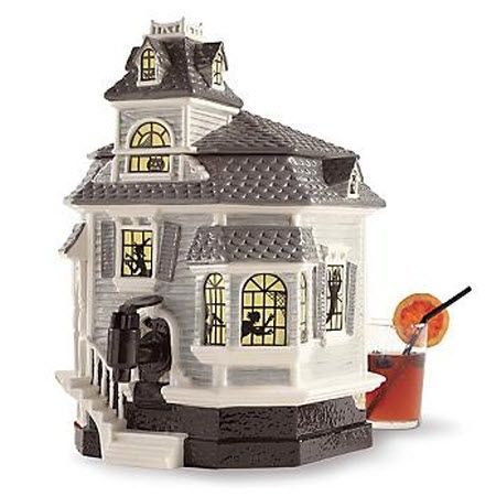 ceramic houses excess halloween entertaining haunted house beverage dispenser - Ceramic Halloween Decorations