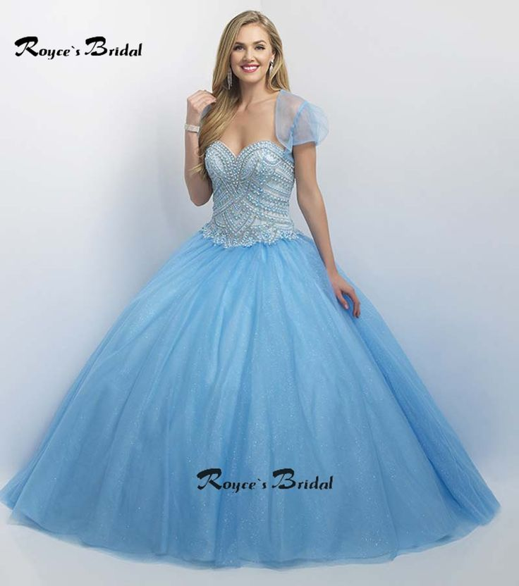 Princess Sky Blue Quinceanera Dresses Ball Gown Sweetheart Neckline Tulle Heavily Beaded Sweet 15 Dress