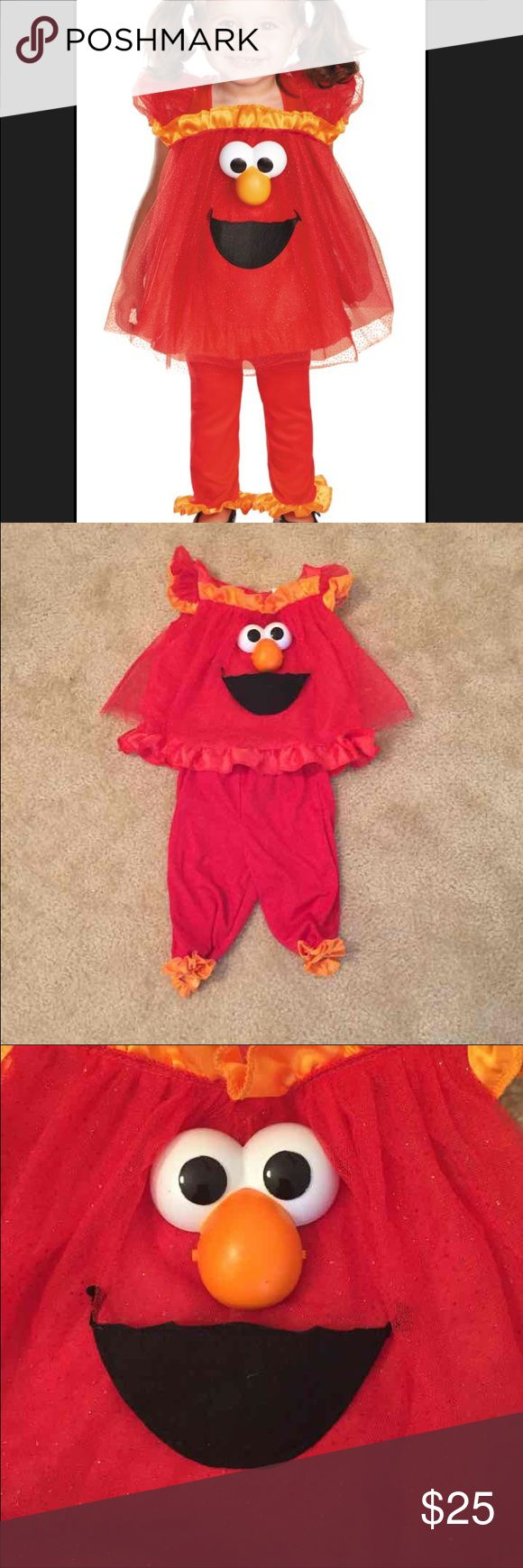 Baby girl light up Elmo costume Adorable baby girl light up eyes Elmo costume. Little black dot on nose as you can see in third picture. Batteries included .12-18 months worn once Sesame street  Costumes