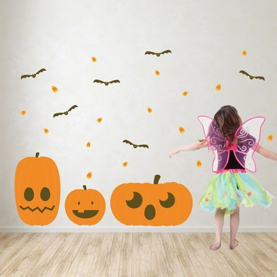 Design your own jack o lantern wall decal kit these peel for Design your own wall mural