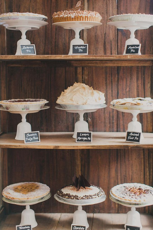 wedding pies, photo by Our Labor of Love by Heidi http://ruffledblog.com/handcrafted-urban-wedding-in-atlanta #dessertbar #weddingideas