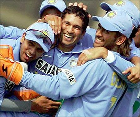 Sachin Tendulkar, Rahul Dravid, M S Dhoni. Old memories