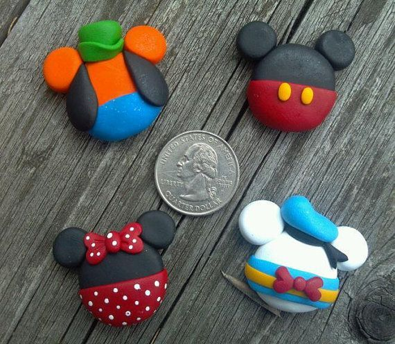 OOAK - MICKEY EARS - Polymer Clay Bow Centers - I made the Minnie and Mickey mouse ones and they are so easy! Also they are adorable. I made them for my friend that is going to Disney and she loved them! http://girlphotoblogs.com