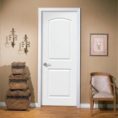 Masonite Roman Smooth 2-Panel Round Top Hollow Core Primed Composite Interior Door Slab-11093 - The Home Depot (to paint in black) need about 7