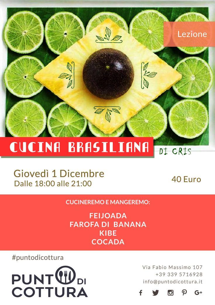 cucina brasiliana | lezione di cucina | corso di cucina | cooking lesson | feijoada | farofa di banana | kibe | cocada | social eating | social food | social cooking | poster | locandina | punto di cottura