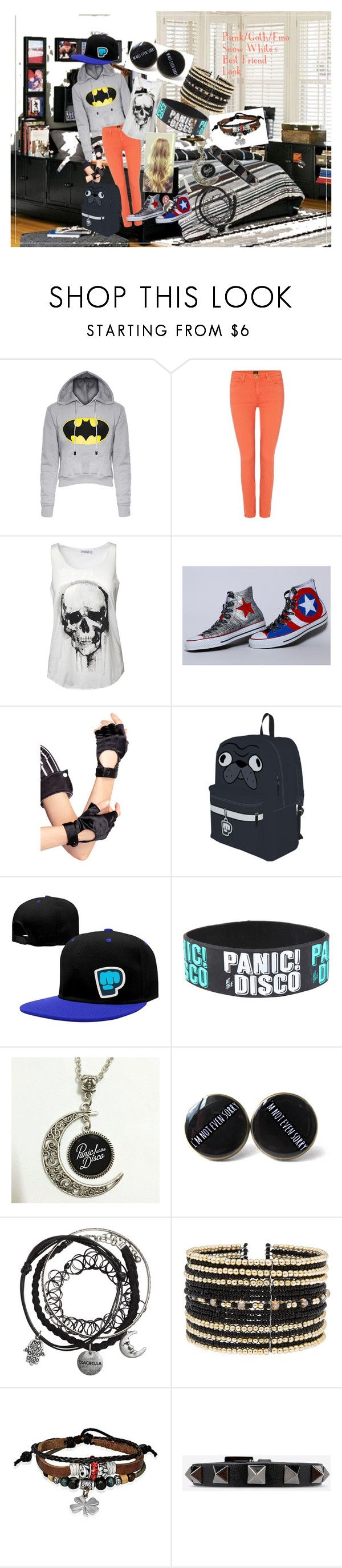 """Punk/Emo/Goth Snow White's Best Friend Look"" by adelle-louise-istead on Polyvore featuring Lee, Leg Avenue, Eloquii, Bling Jewelry and Valentino"